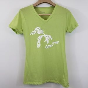 Michigan Great Lakes V Neck Lime green Tee Size XL